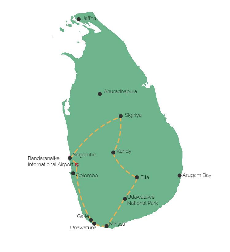 Reisroute Sri Lanka rondreis Sri Lanka  Solon Travel